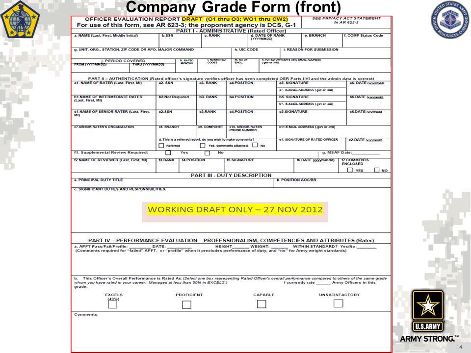 Company Grade Form (front)