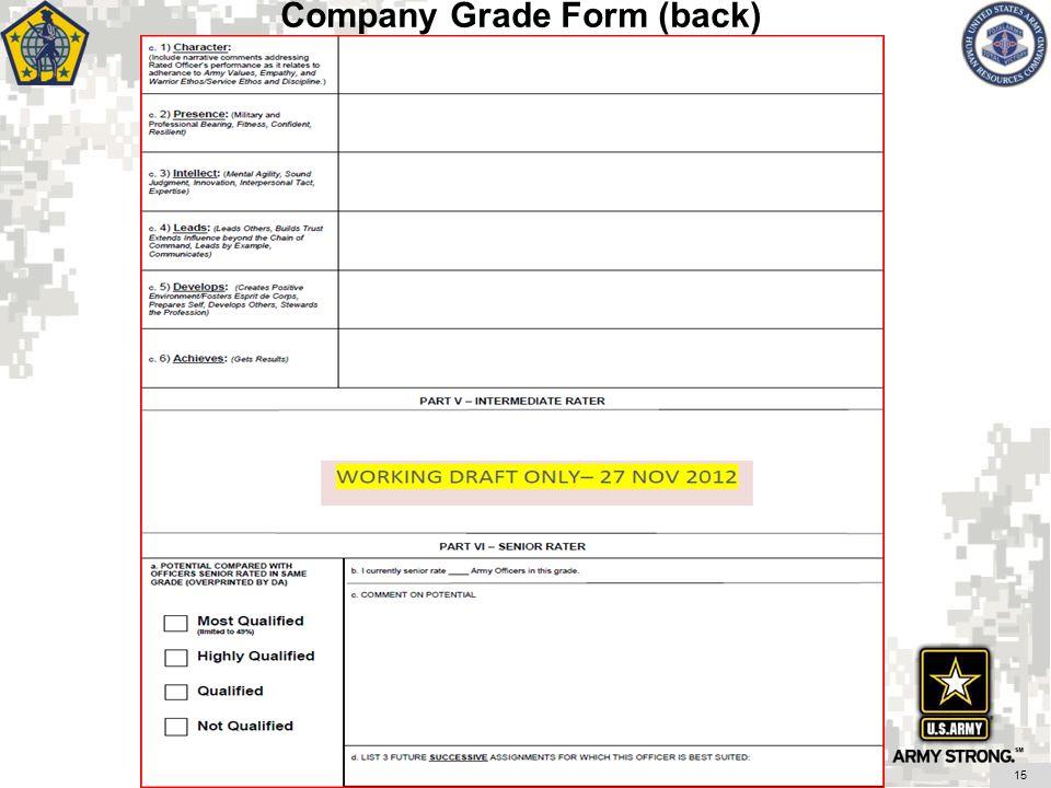 Company Grade Form (back)