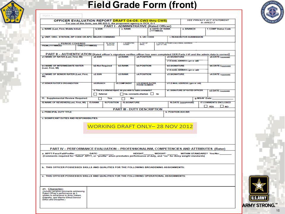 Field Grade Form (front)