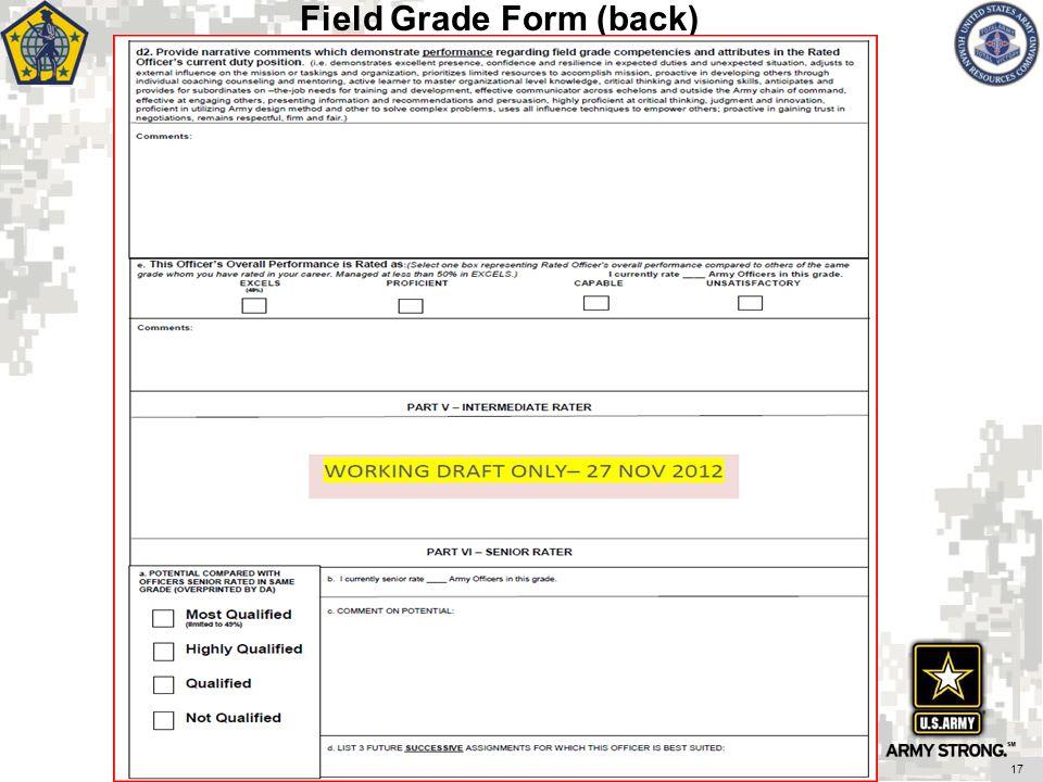 Field Grade Form (back)