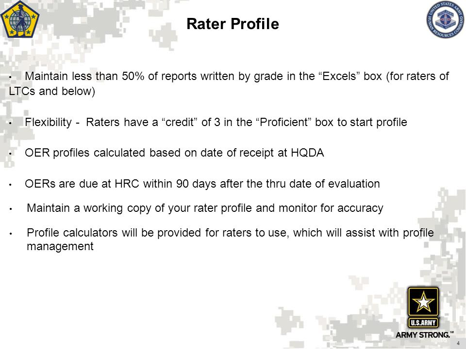 Rater Profile Maintain less than 50% of reports written by grade in the Excels box (for raters of LTCs and below)