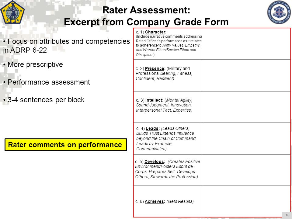 Excerpt from Company Grade Form