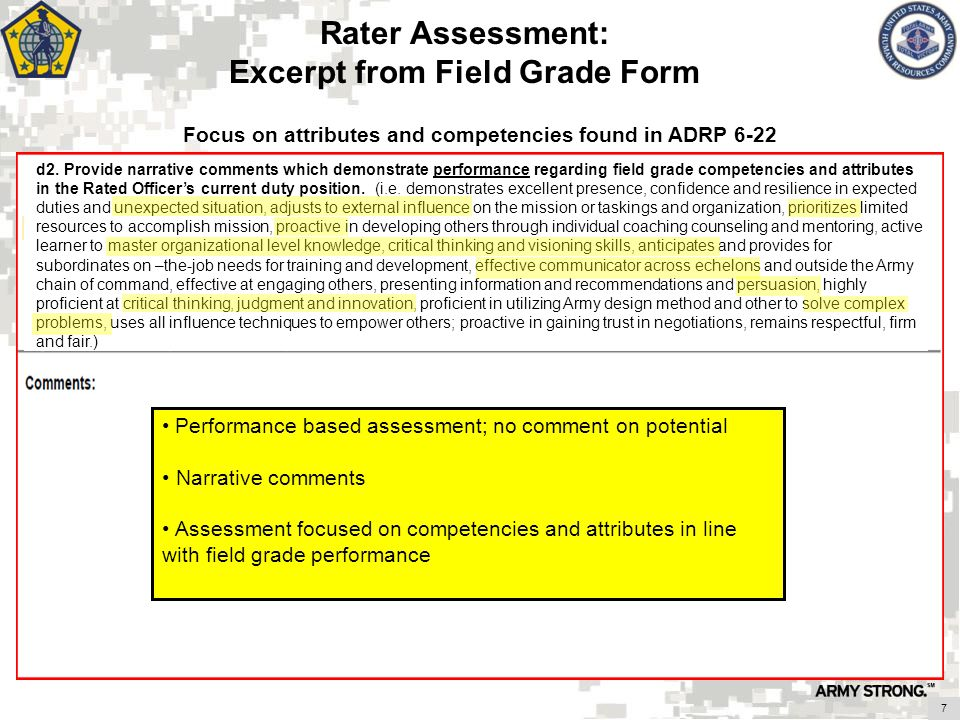 Rater Assessment: Excerpt from Field Grade Form