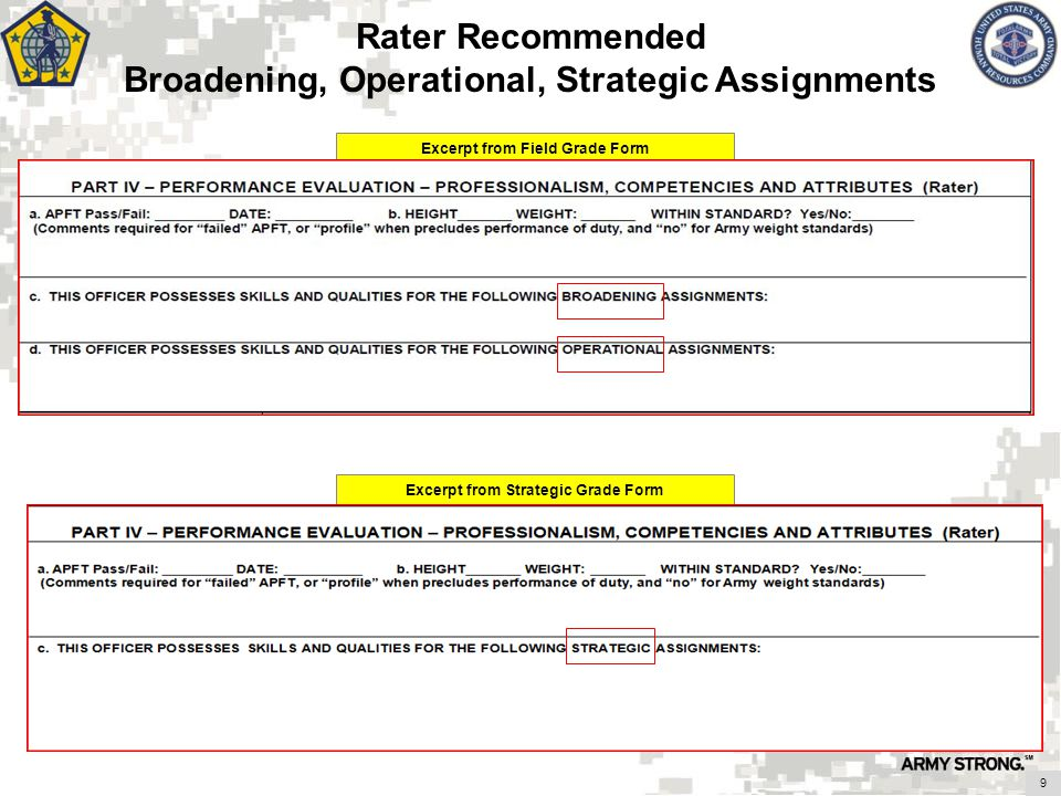 Rater Recommended Broadening, Operational, Strategic Assignments