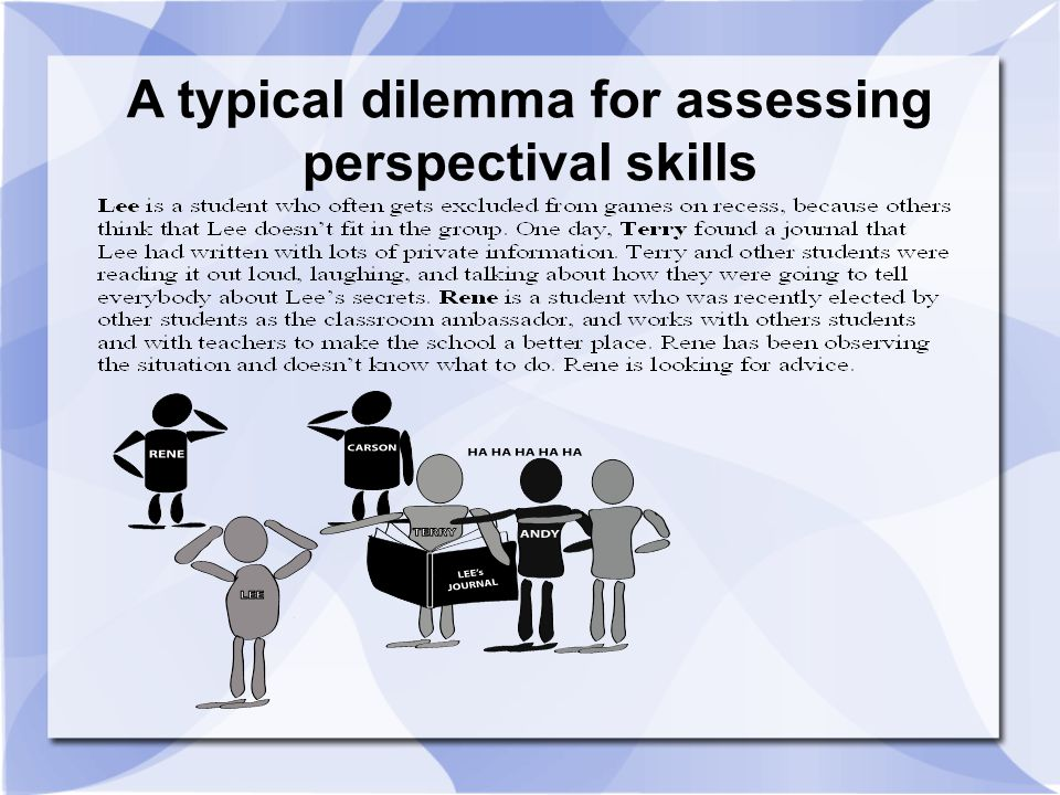 A typical dilemma for assessing perspectival skills