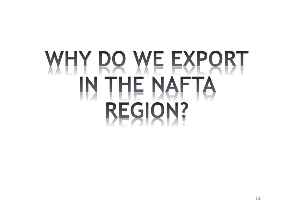 WHY DO WE EXPORT IN THE NAFTA REGION
