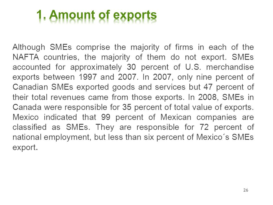 1. Amount of exports