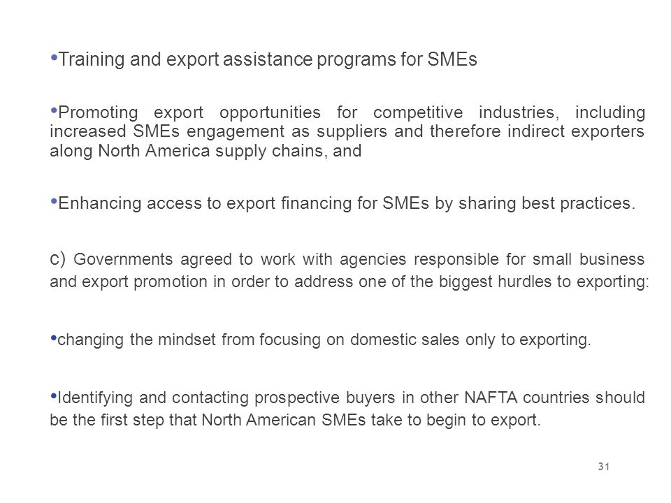 Training and export assistance programs for SMEs