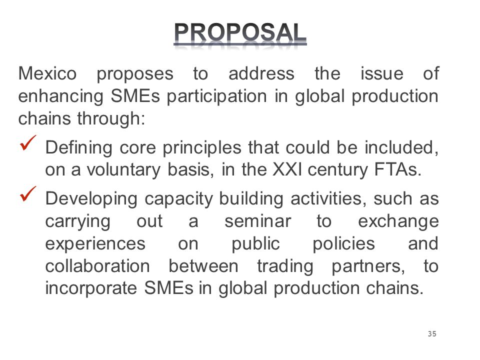 PROPOSAL Mexico proposes to address the issue of enhancing SMEs participation in global production chains through: