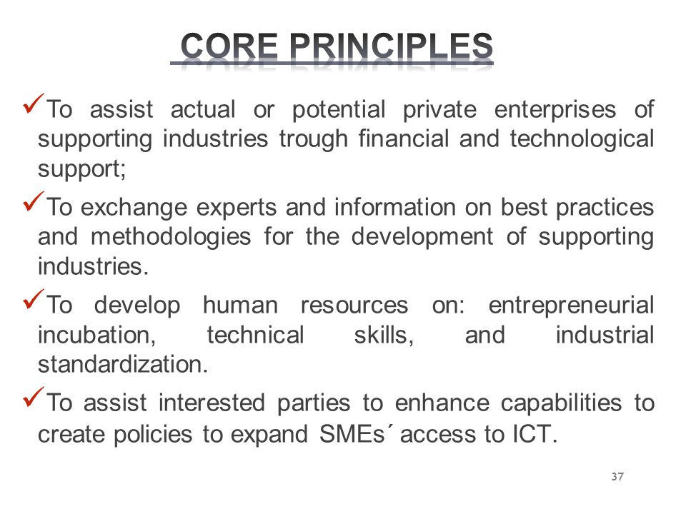 CORE PRINCIPLES To assist actual or potential private enterprises of supporting industries trough financial and technological support;
