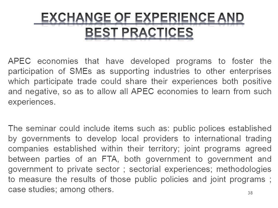EXCHANGE OF EXPERIENCE AND BEST PRACTICES