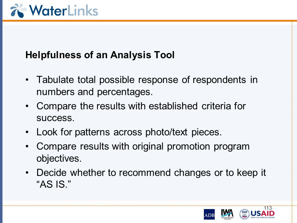 Helpfulness of an Analysis Tool