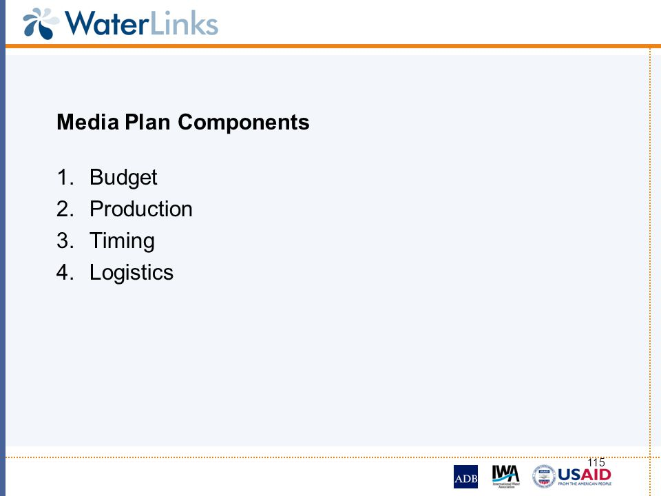Media Plan Components Budget Production Timing Logistics