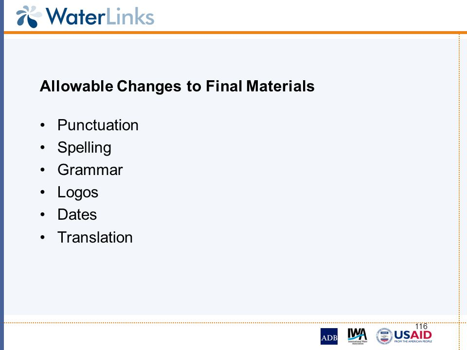 Allowable Changes to Final Materials