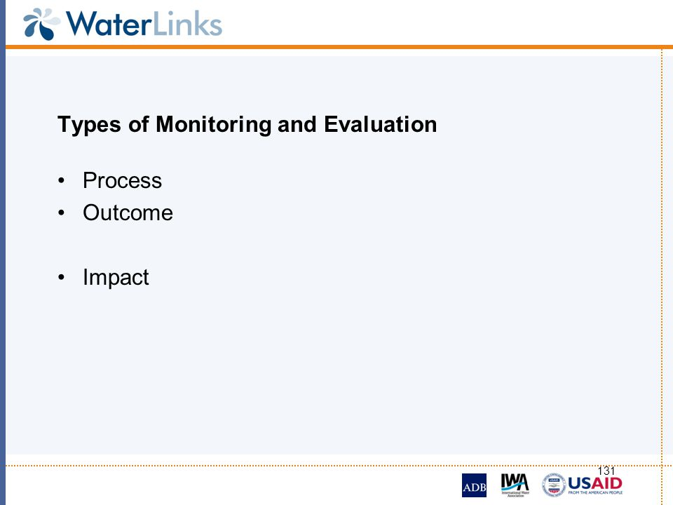 Types of Monitoring and Evaluation