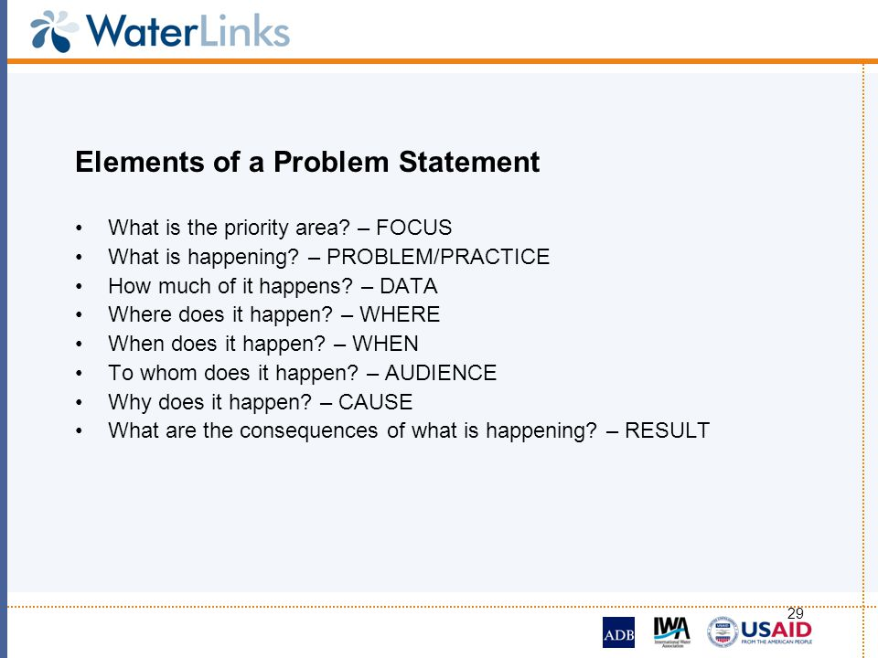 Elements of a Problem Statement