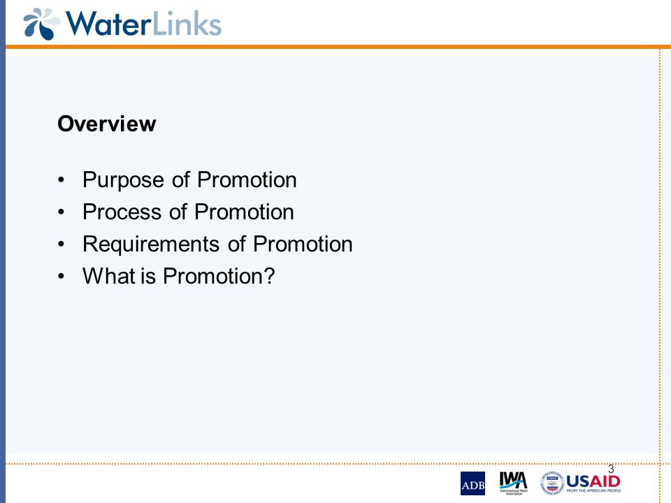 Overview Purpose of Promotion Process of Promotion Requirements of Promotion What is Promotion