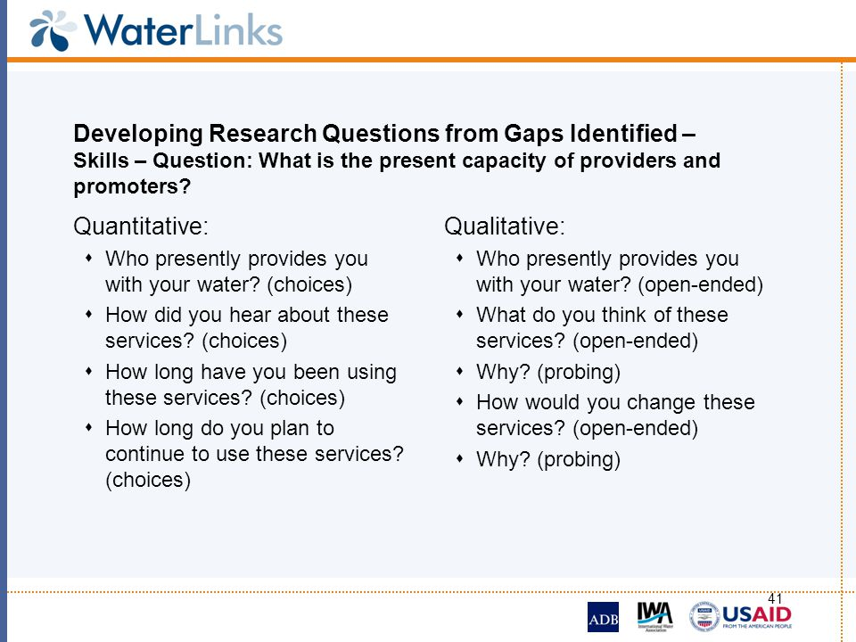 Developing Research Questions from Gaps Identified – Skills – Question: What is the present capacity of providers and promoters