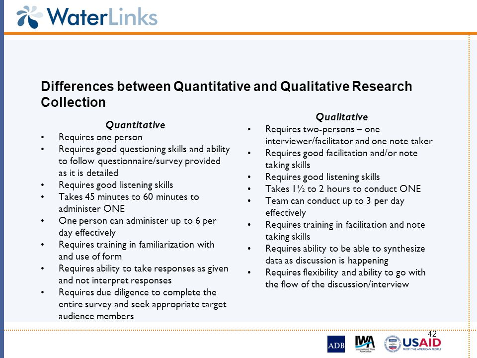 Differences between Quantitative and Qualitative Research Collection
