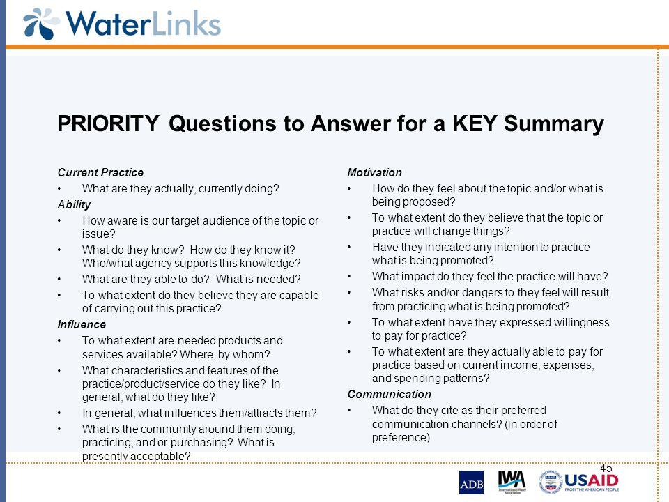 PRIORITY Questions to Answer for a KEY Summary