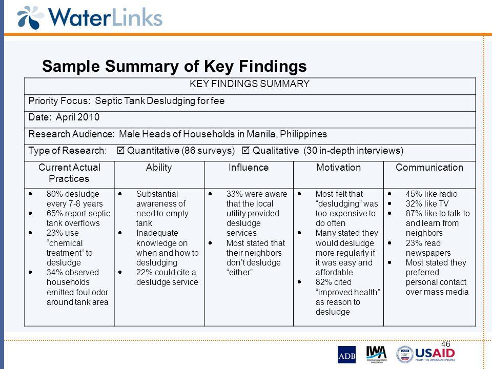 Sample Summary of Key Findings
