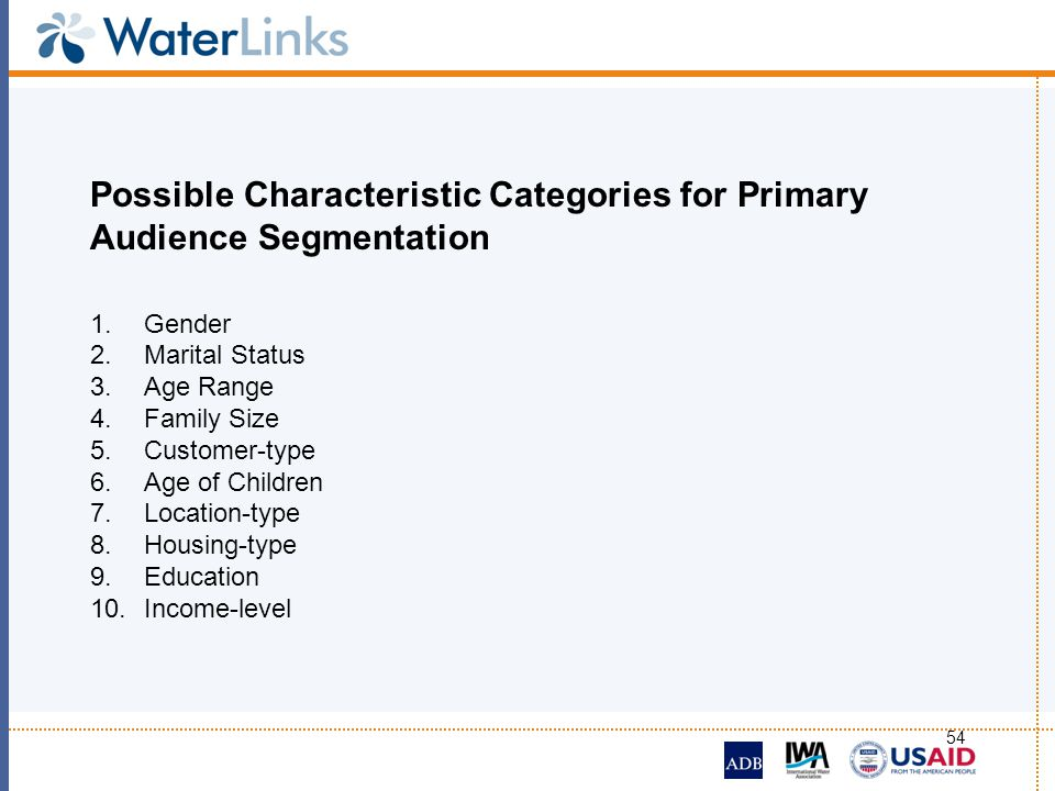 Possible Characteristic Categories for Primary Audience Segmentation