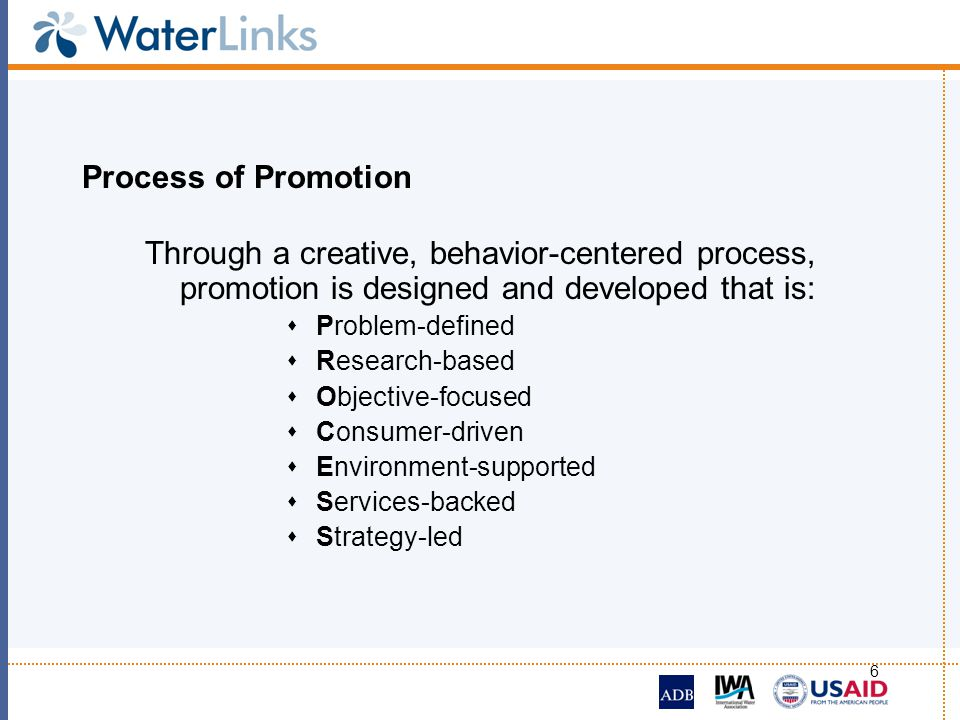 Process of Promotion Through a creative, behavior-centered process, promotion is designed and developed that is: