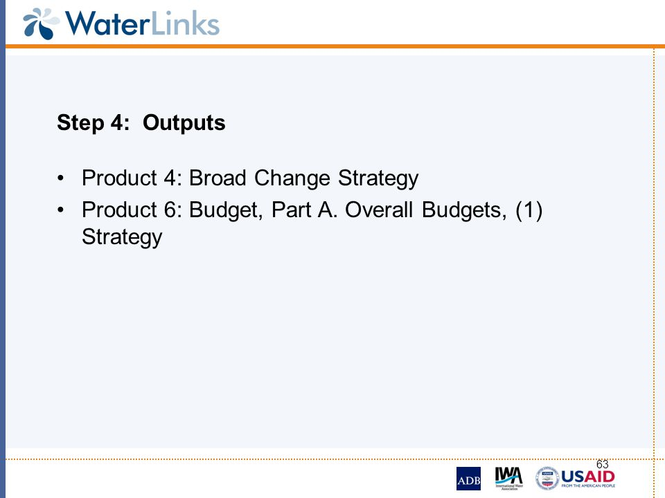 Step 4: Outputs Product 4: Broad Change Strategy.