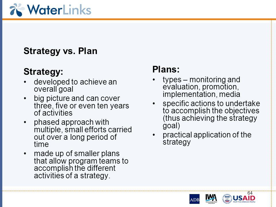 Strategy vs. Plan Plans: Strategy: