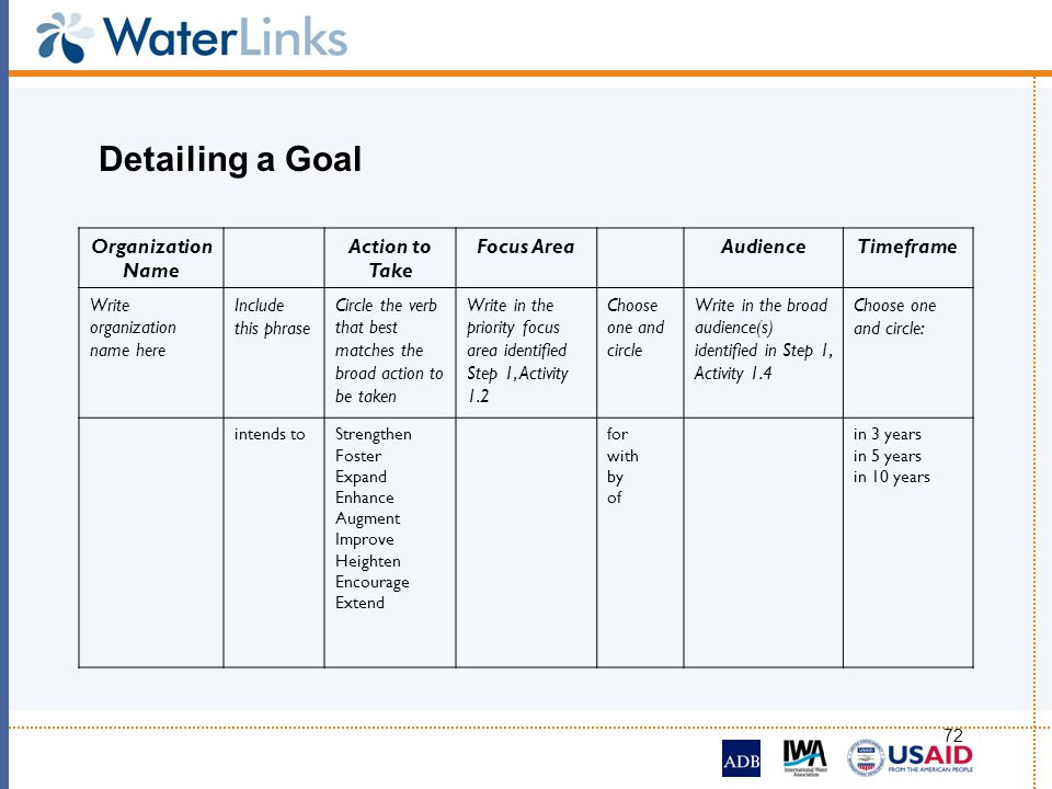 Detailing a Goal Organization Name Action to Take Focus Area Audience