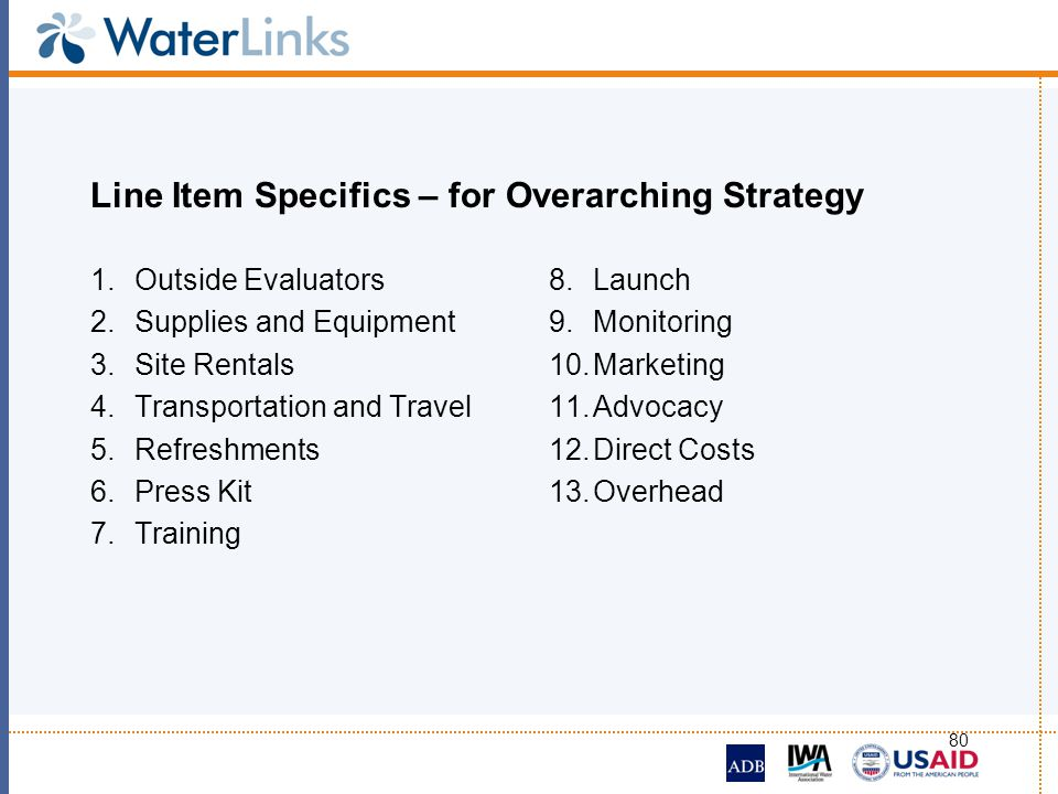 Line Item Specifics – for Overarching Strategy