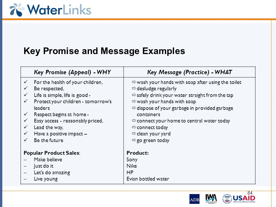 Key Promise and Message Examples