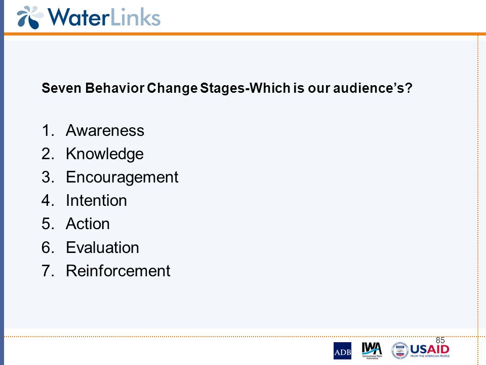 Seven Behavior Change Stages-Which is our audience's