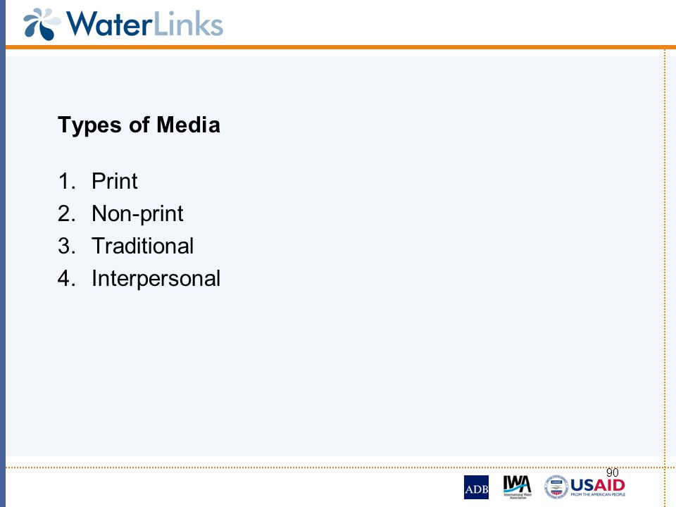 Types of Media Print Non-print Traditional Interpersonal