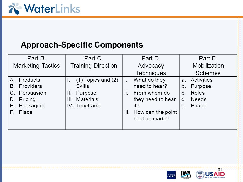 Approach-Specific Components