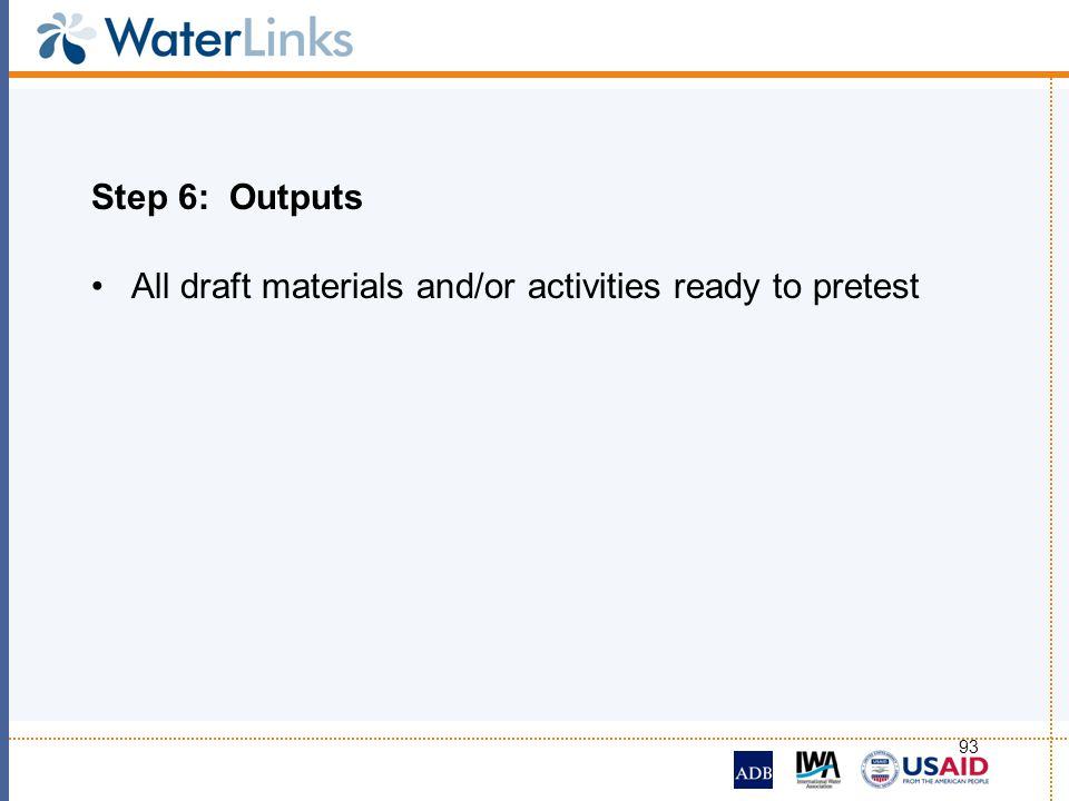 Step 6: Outputs All draft materials and/or activities ready to pretest