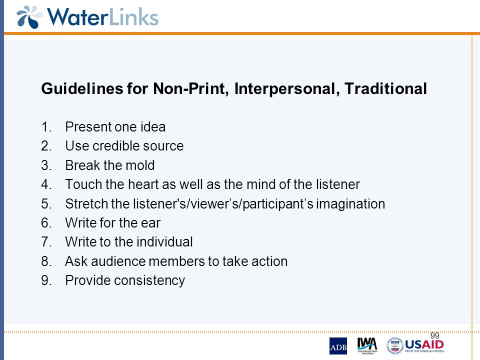 Guidelines for Non-Print, Interpersonal, Traditional