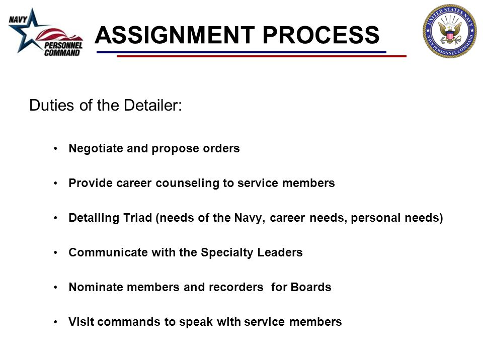 ASSIGNMENT PROCESS Duties of the Detailer: