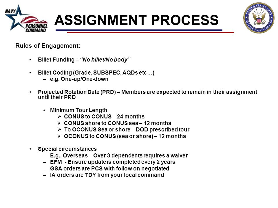 ASSIGNMENT PROCESS Rules of Engagement: