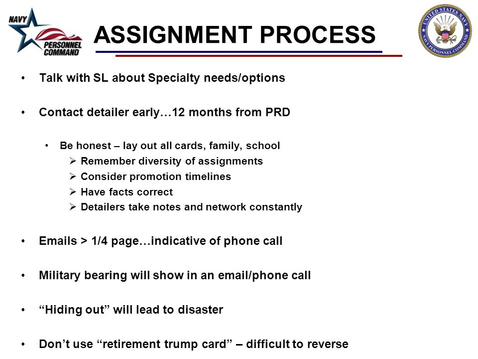 ASSIGNMENT PROCESS Talk with SL about Specialty needs/options