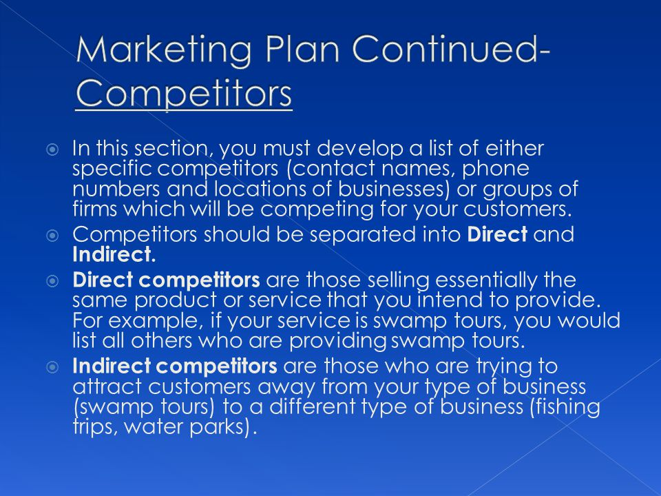 Marketing Plan Continued- Competitors