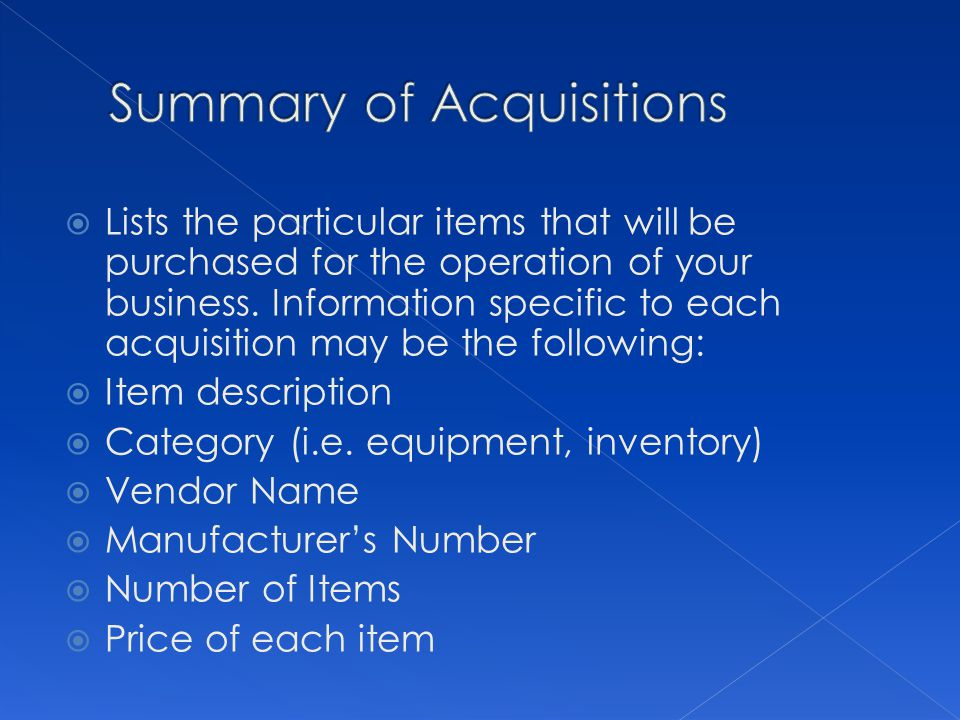 Summary of Acquisitions
