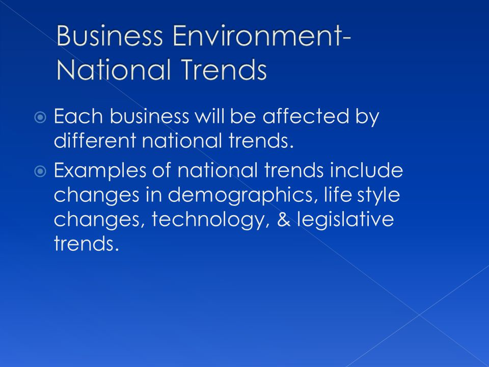 Business Environment-National Trends