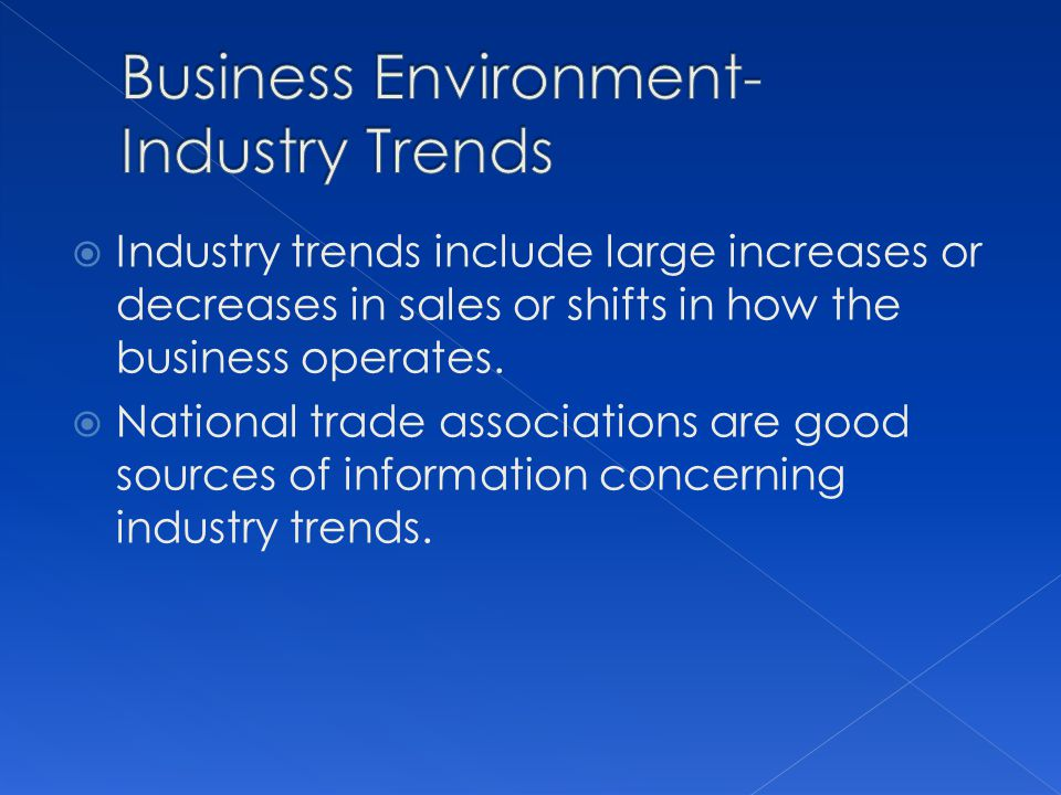 Business Environment- Industry Trends