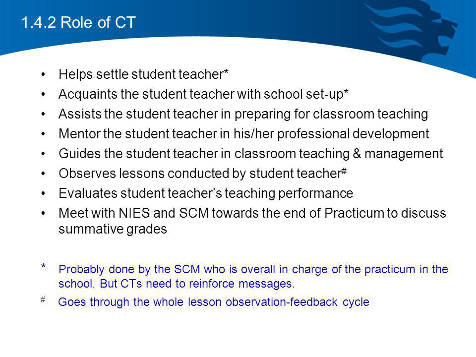1.4.2 Role of CT Helps settle student teacher*