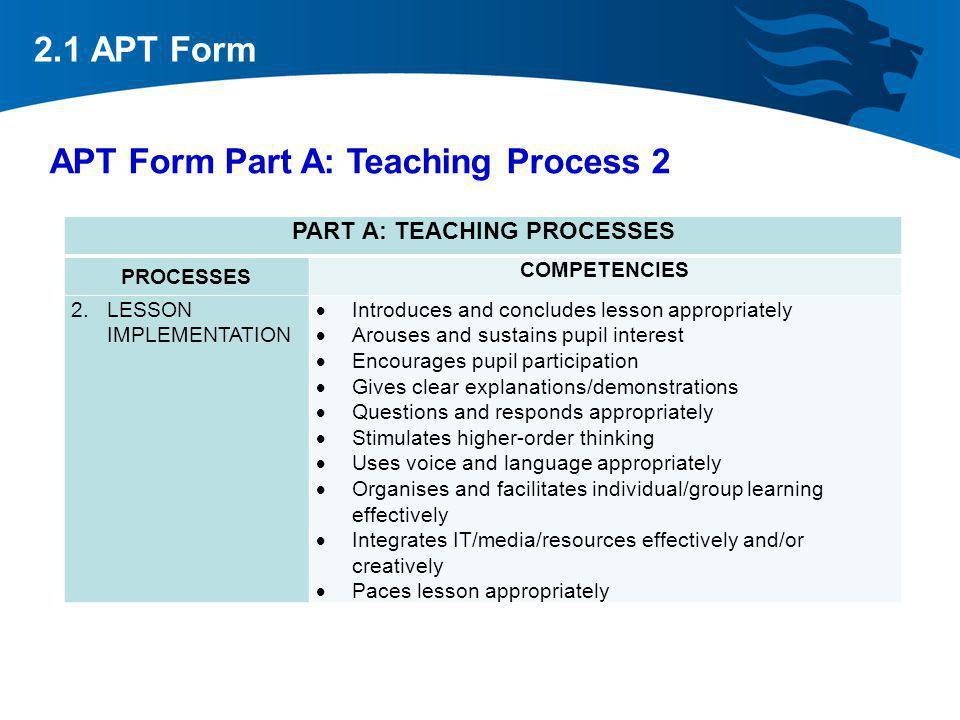 APT Form Part A: Teaching Process 2