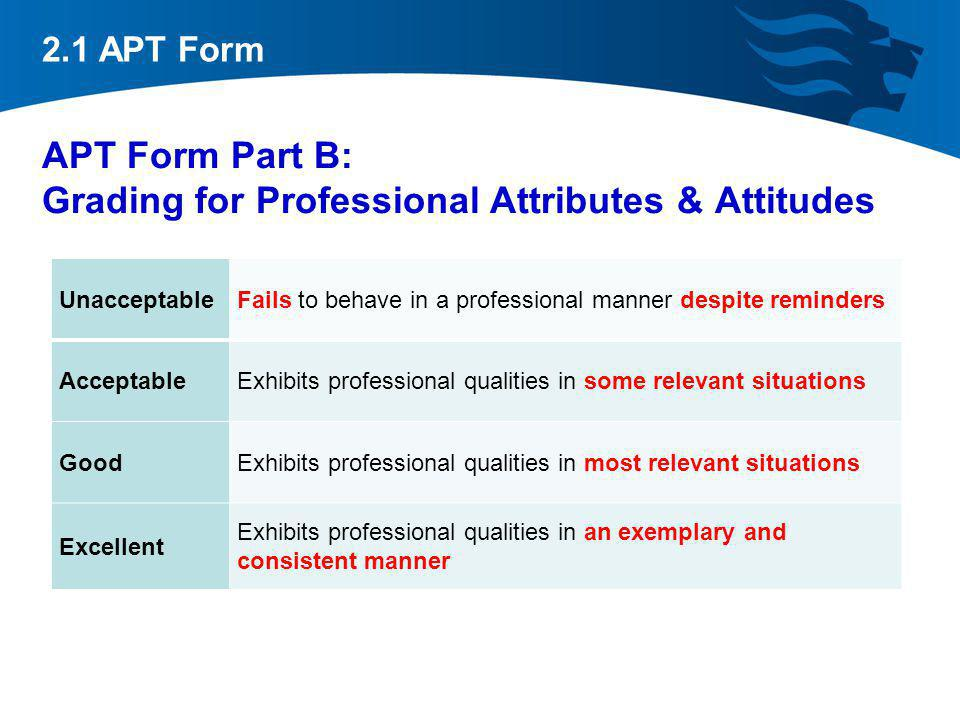APT Form Part B: Grading for Professional Attributes & Attitudes
