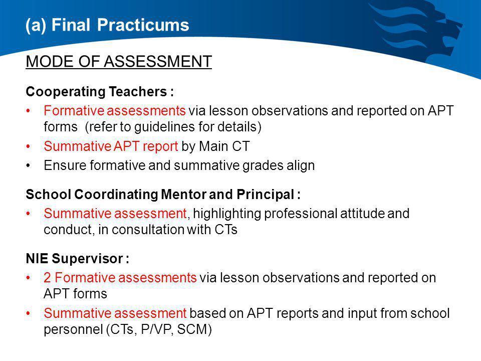 (a) Final Practicums MODE OF ASSESSMENT Cooperating Teachers :