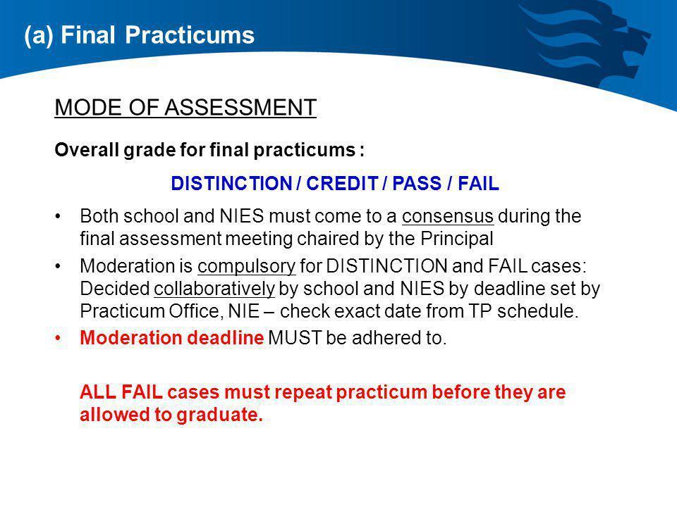 DISTINCTION / CREDIT / PASS / FAIL