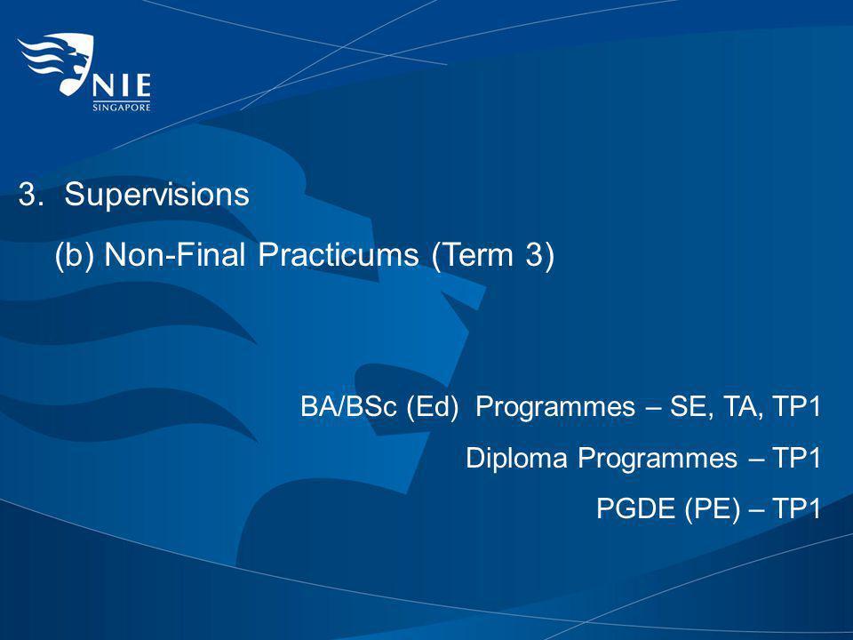 (b) Non-Final Practicums (Term 3)
